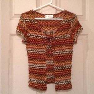 Short Sleeve Knitted Multi-Colored Cardigan.